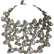 K.J.L. Rare Huge Early Signature Theatrical Glass Bib Necklace Kenneth Lane Celebrity Piece