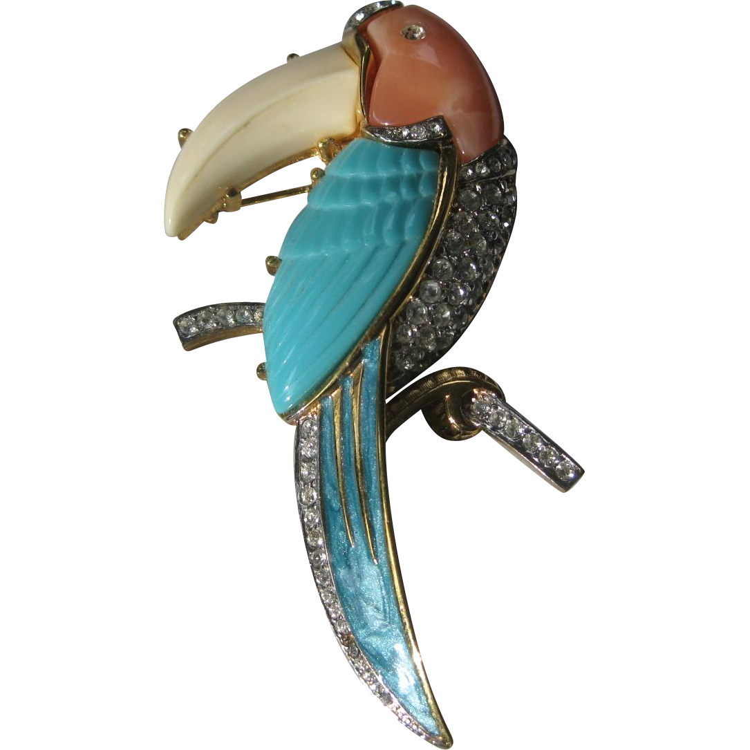 Beautiful Enamel & Stones Large Vintage Bird Pin