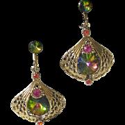 Vintage Watermelon Stones Chandelier Earrings