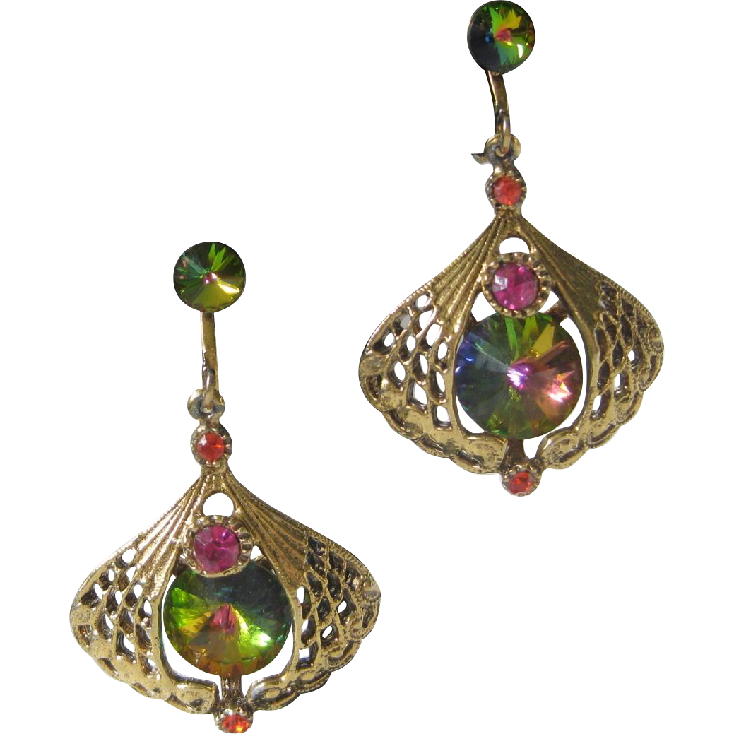 Vintage Watermelon Stones Chandelier Earrings