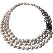 CINER Vintage Glass Pearls Rhinestones & Glass Necklace