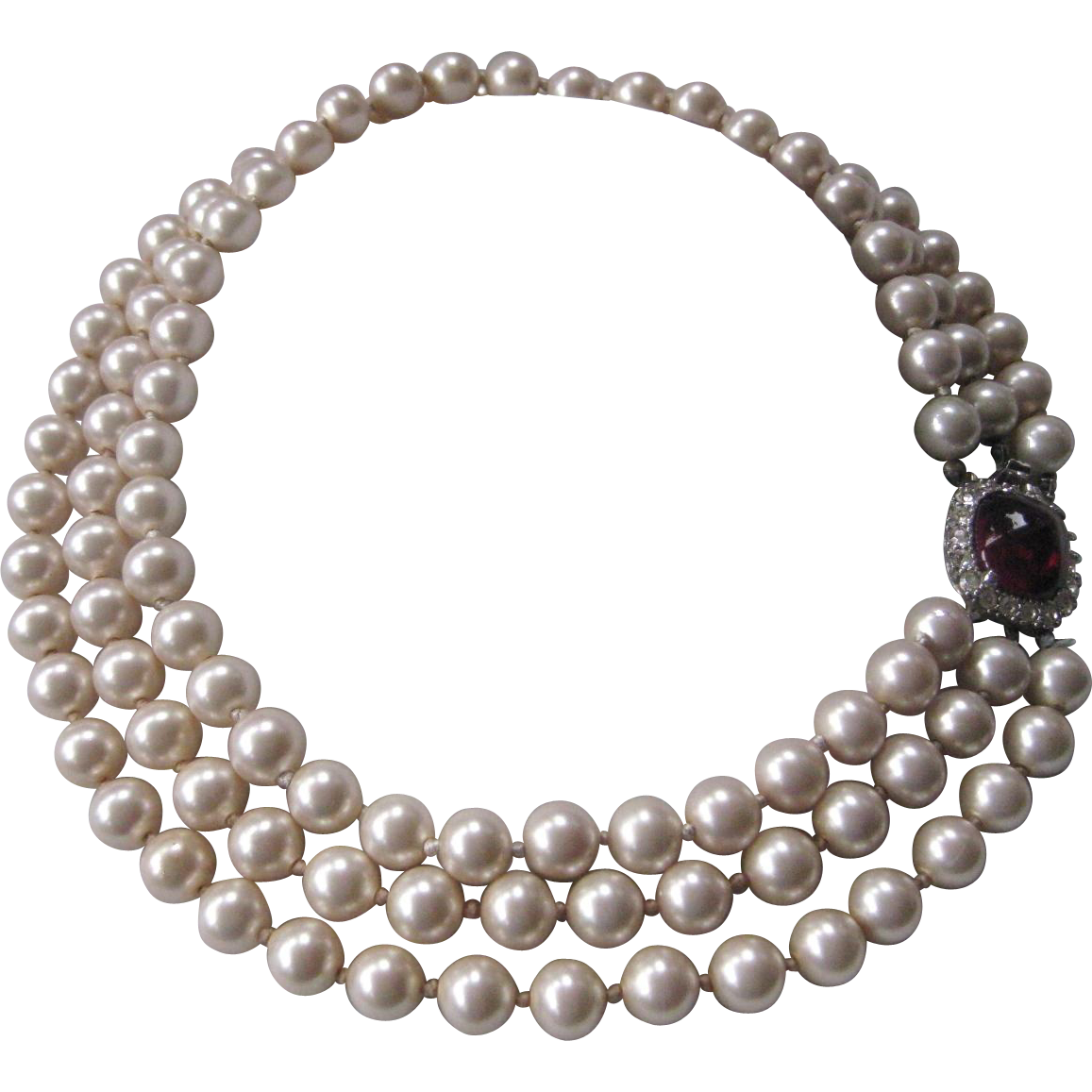 CINER Vintage Glass Pearls Rhinestones & Glass Necklace