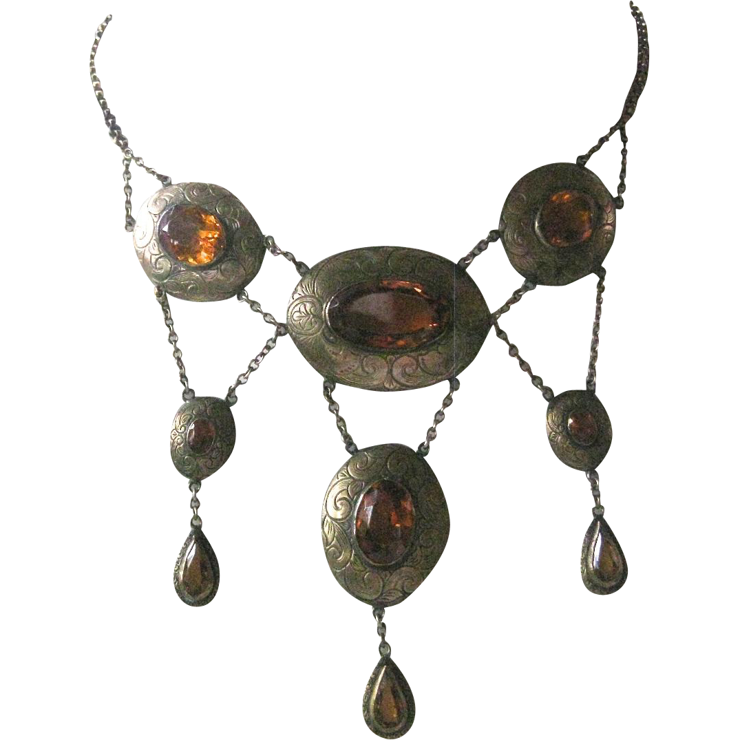 Stunning Vintage CZECH Etched Brass & Citrine Glass Billowing Necklace