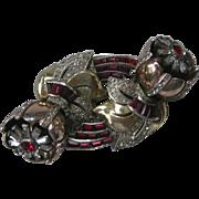 CORO DUETTE Floral Trembler Rhinestone Double Fur Clip Duette