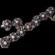 ALICE CAVINESS Glass Opals & Rhinestones Bracelet & Earrings Demi Parure
