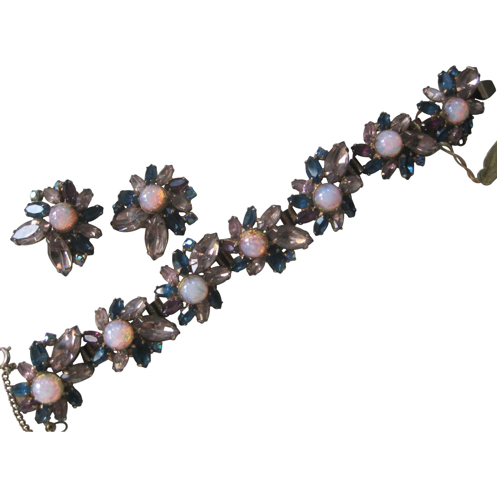 ALICE CAVINESS Glass Opals & Rhinestones Bracelet & Earrings Demi Parure