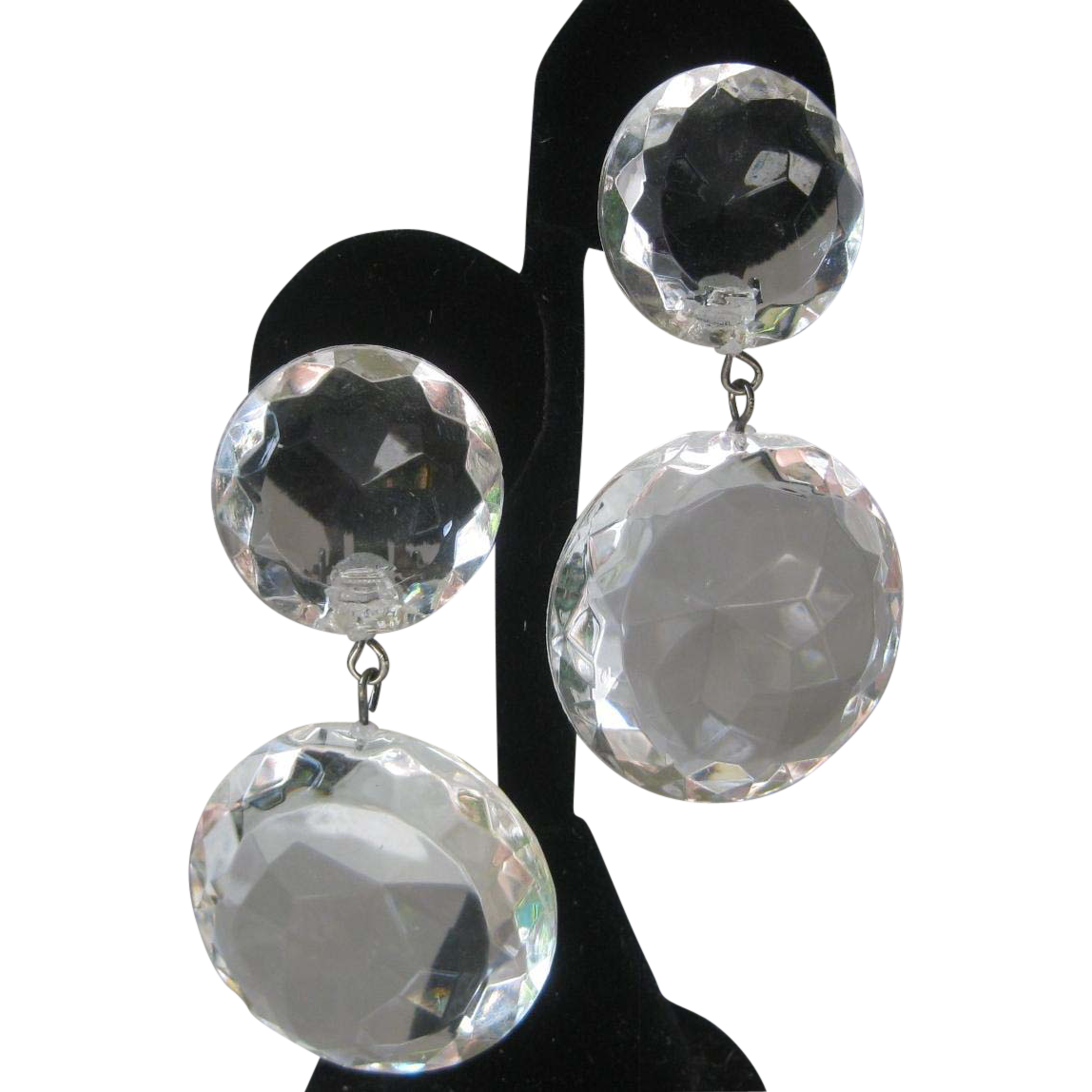 Vintage Huge Clear Ice Lucite Stones Earrings
