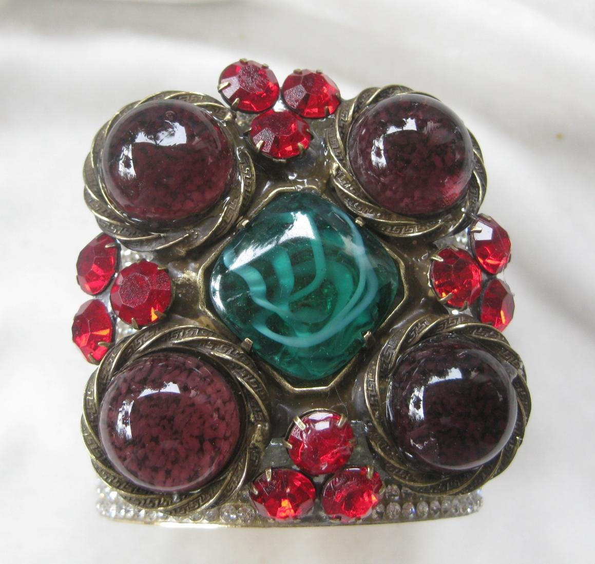 Red Glass Stone : Lawrence vrba marbled green purple red glass stones cuff
