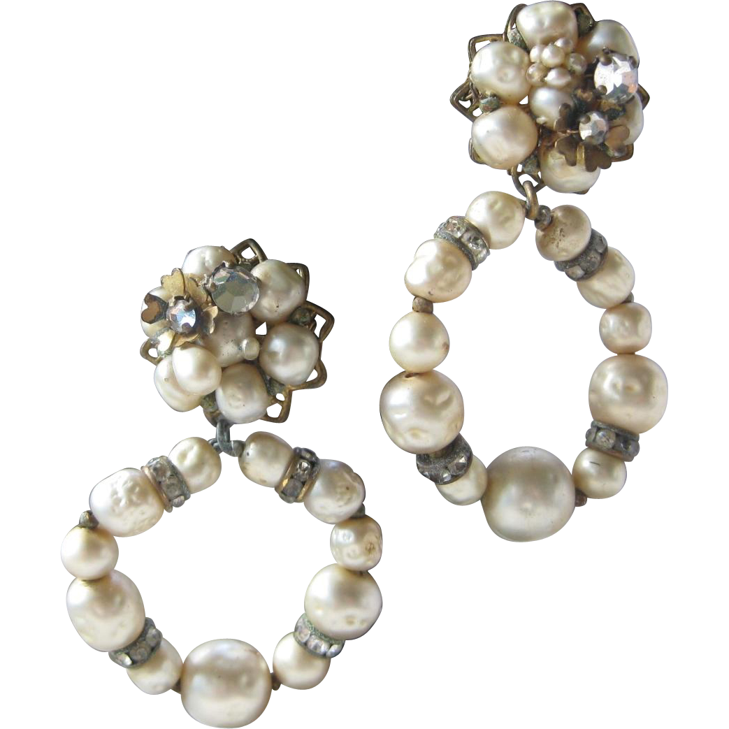 DeMario N.Y. Baroque Pearls & Rhinestones Vintage Dangling Earrings