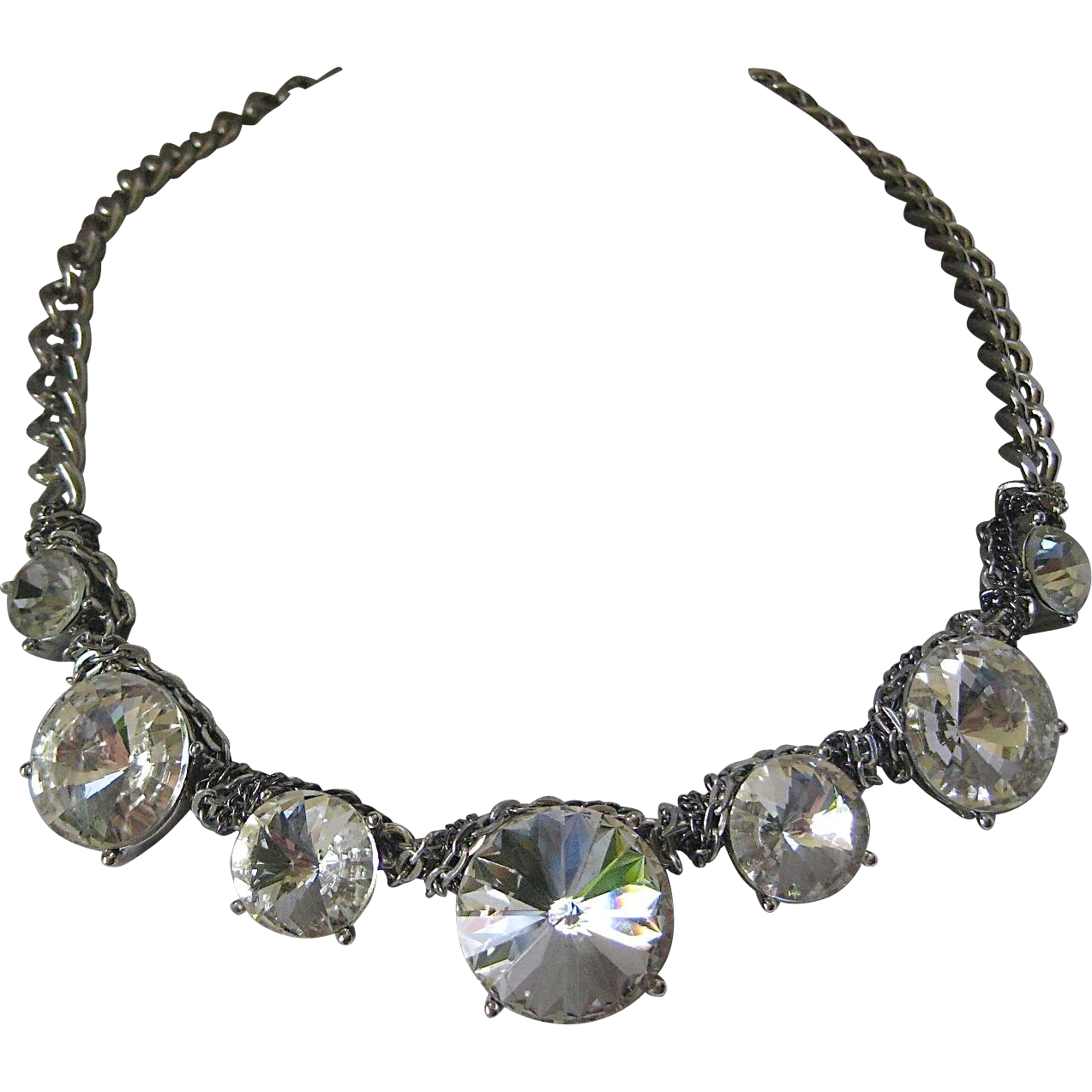 Stunning Huge Clear Rivoli Stones Necklace