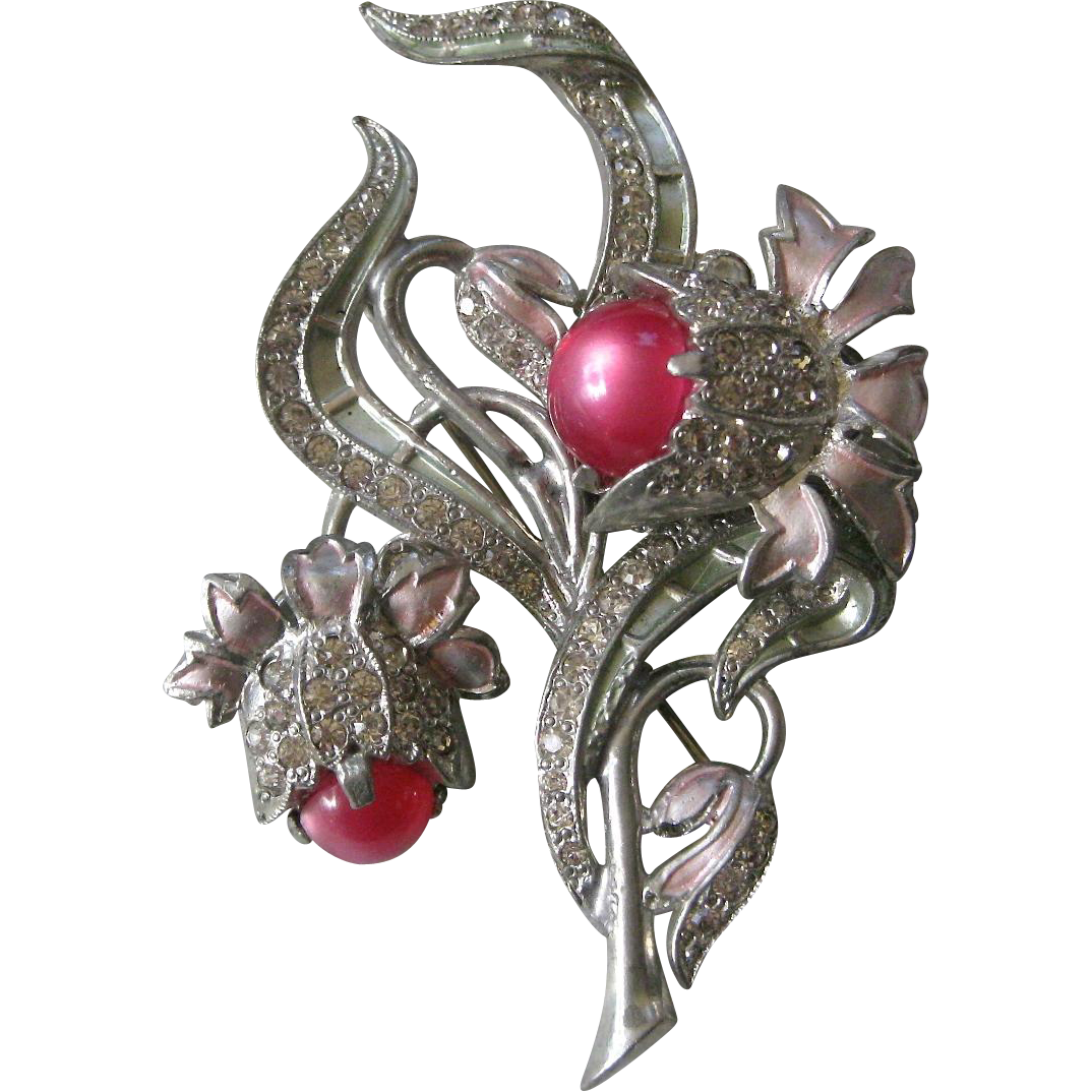 Large Vinage French Paste & Enamel & Raspberry Moonstones Brooch Pin