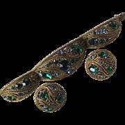 Stunning Unsigned Trifari Bracelet & Earrings Demi Parure