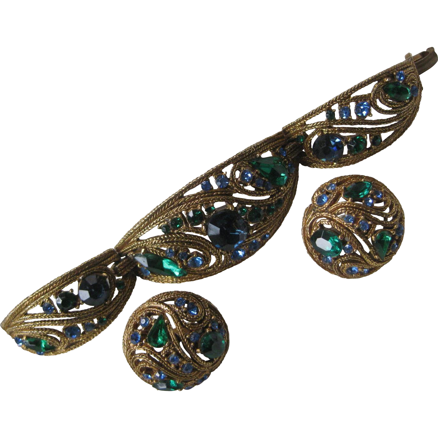 Stunning Unsigned Trifari Bracelet & Earrings Demi Parure
