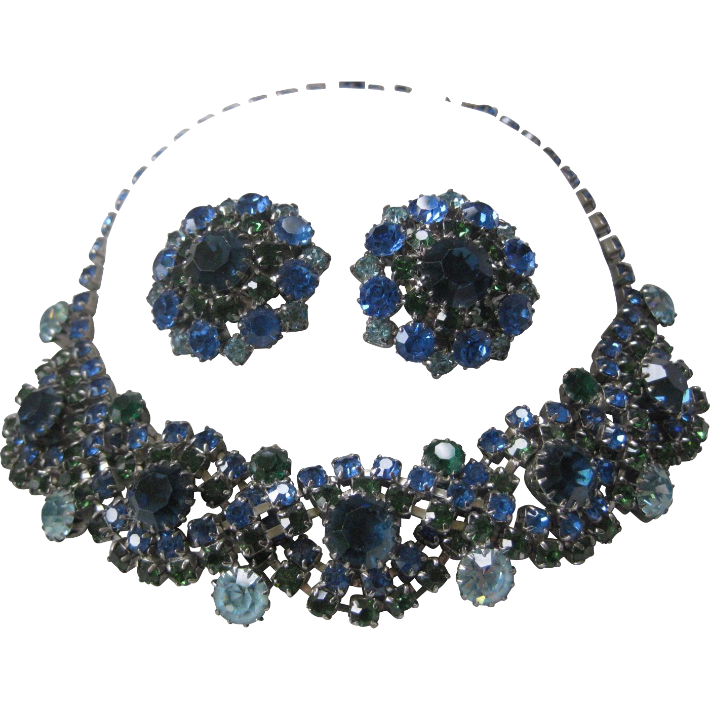 Blues & Greens Beautiful Rhinestones Cluster Necklace & Earrings Demi Parure JULIANA