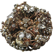 Original By Robert Large Layered Rhinestones & Pearls Floral Cluster Pin Brooch