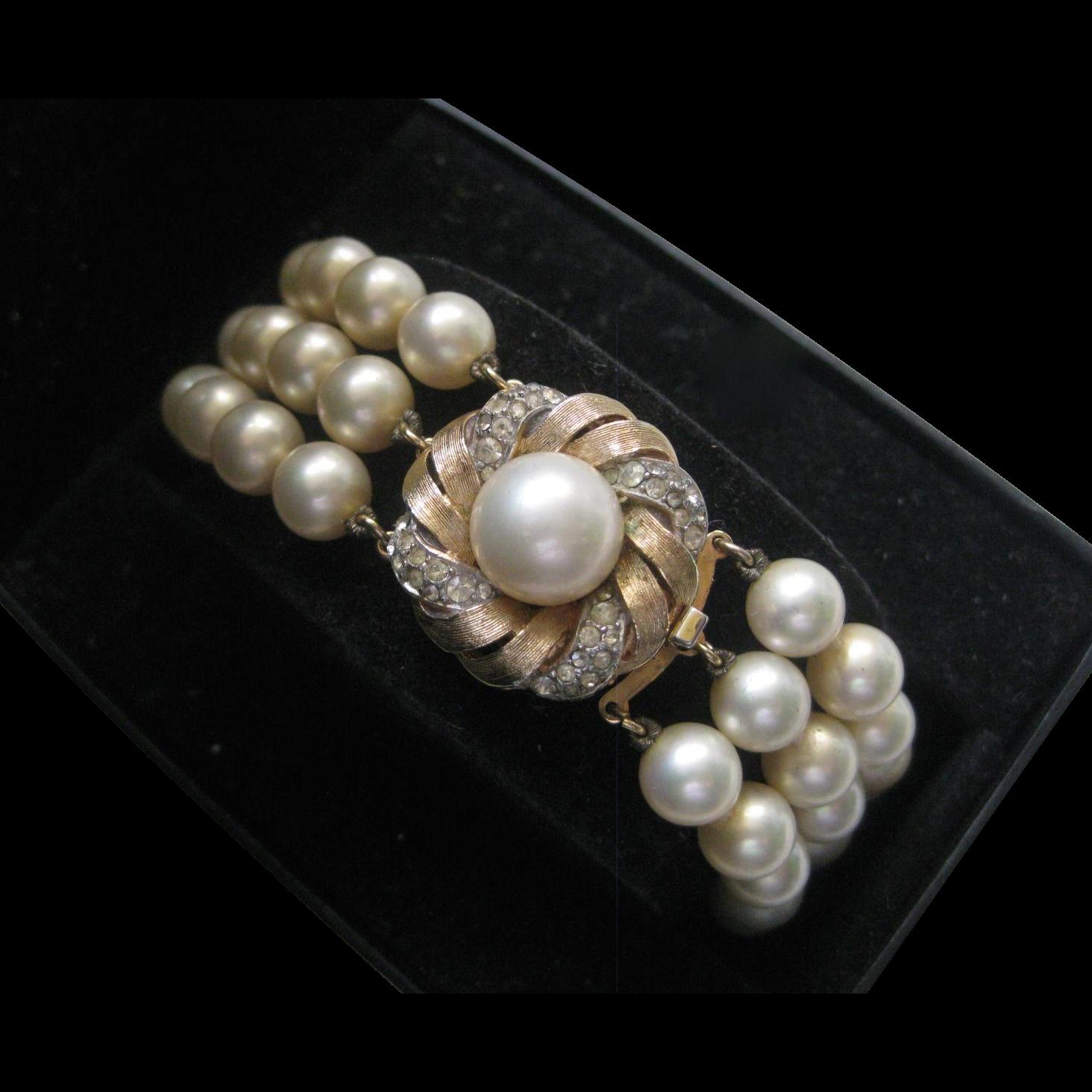 CINER Glass Pearls & Rhinestones Vintage Bracelet