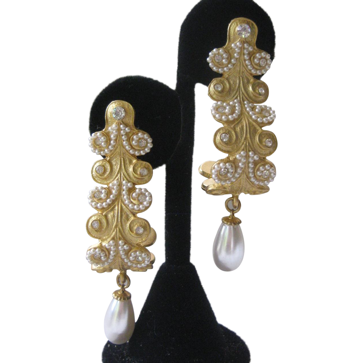 Beautiful Vintage Gold, Rhinestones & Pearls Long Earrings