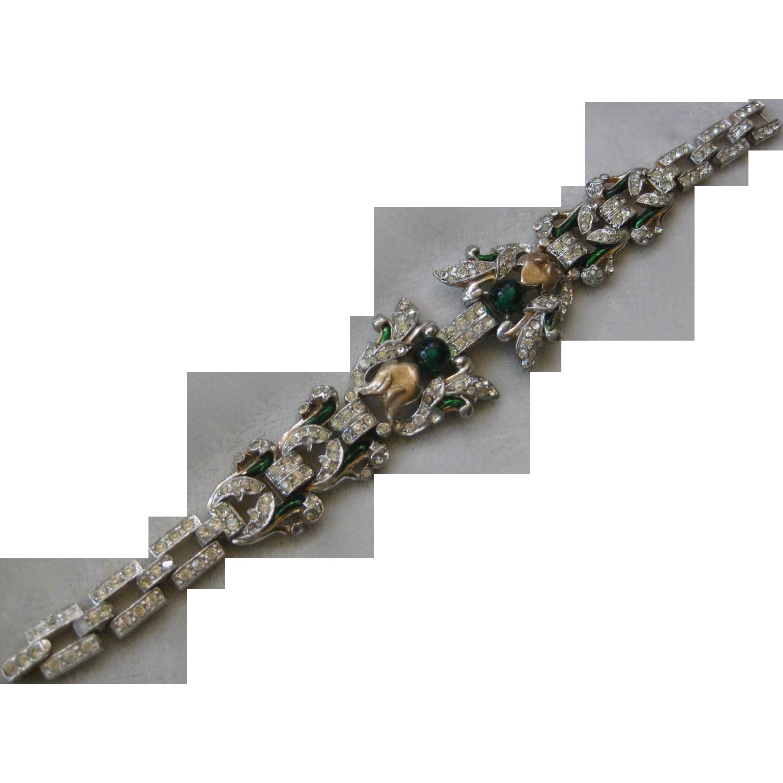 TRIFARI Empress Eugenie Paste Rhinestones & Enamel Stunning Bracelet