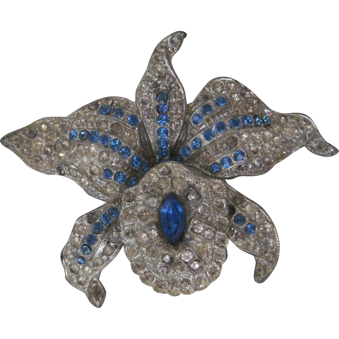 Trifari Rhinestone Covered Blue & Clear Orchid Trembler Pin
