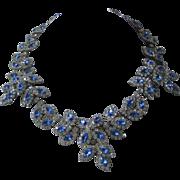 KENNETH LANE Blue & Clear Rhinestones Large Vintage Necklace