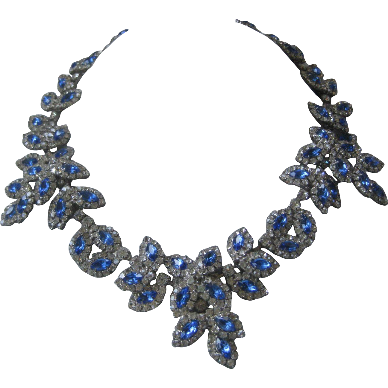 KENNETH LANE Blue & Clear Rhinestones Large Vintage Necklace