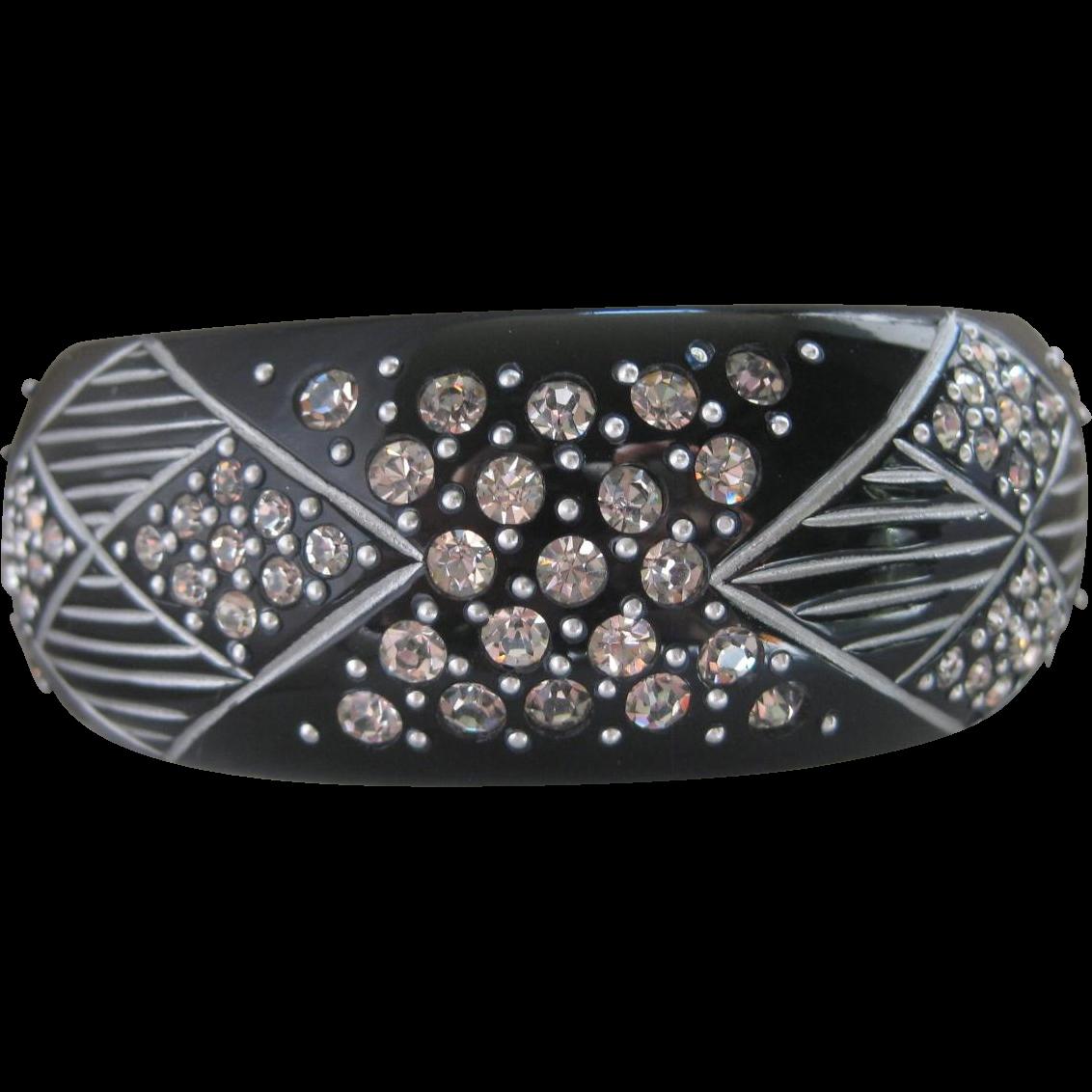 Stunning Wide Rhinestone Vintage Bangle Cuff Bracelet
