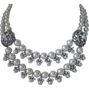 GIVENCHY Dangling Rhinestones & Glass Pearls Double Strand Bib Necklace