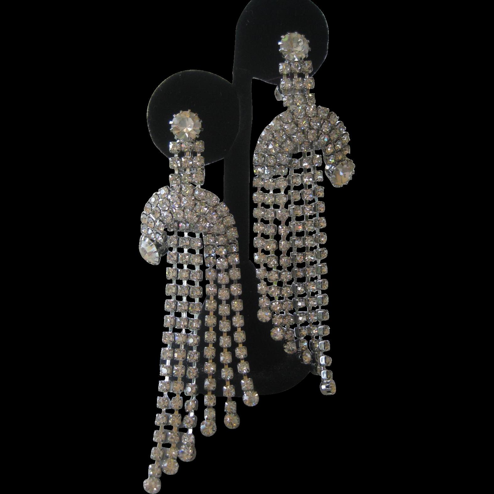 Stunning 1950s Dangling Rhinestones Chandelier Earrings