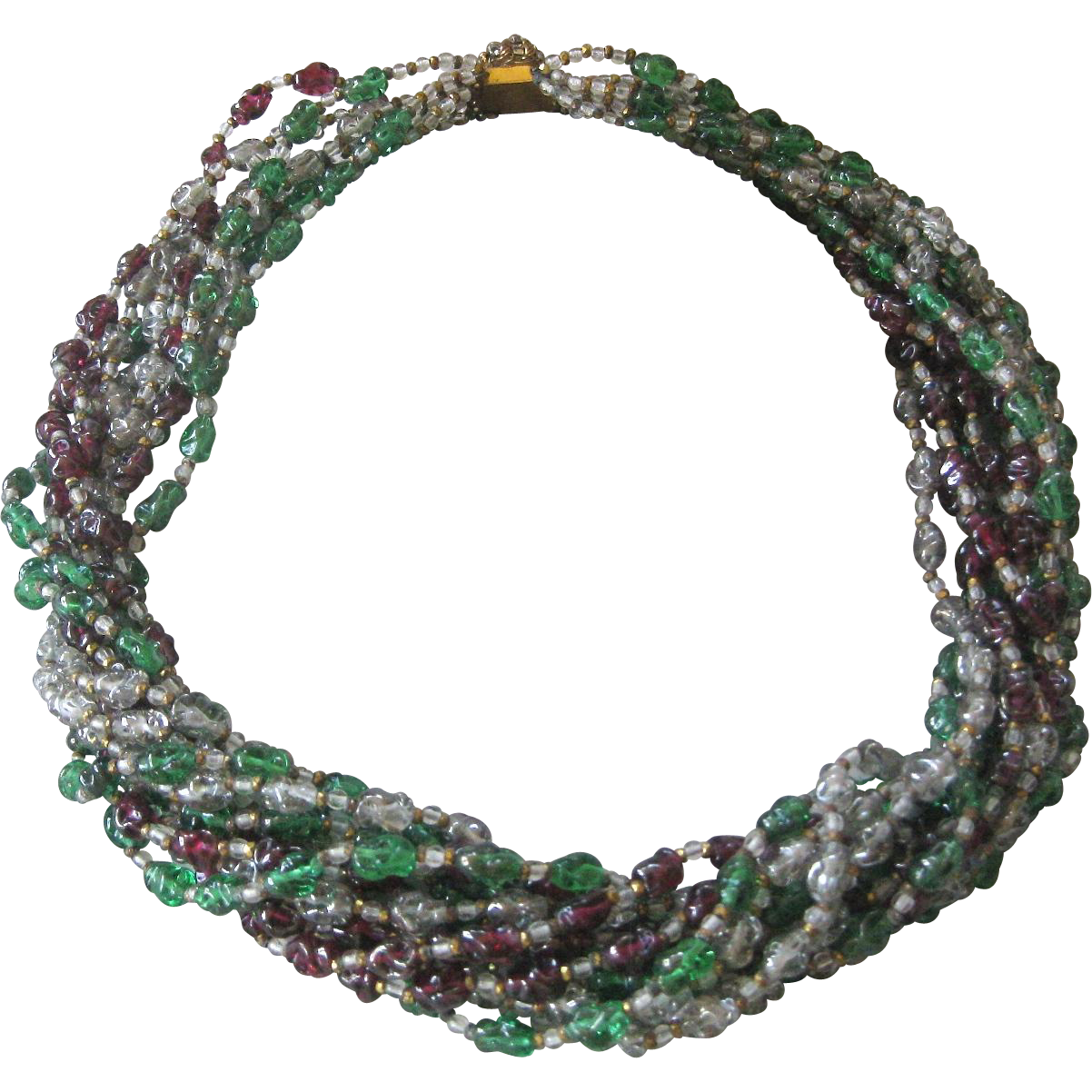 French Molded Glass 12 Strand Vintage Necklace