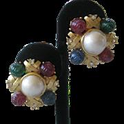 CRAFT Molded Glass Rhinestones & Pearl Vintage Earrings