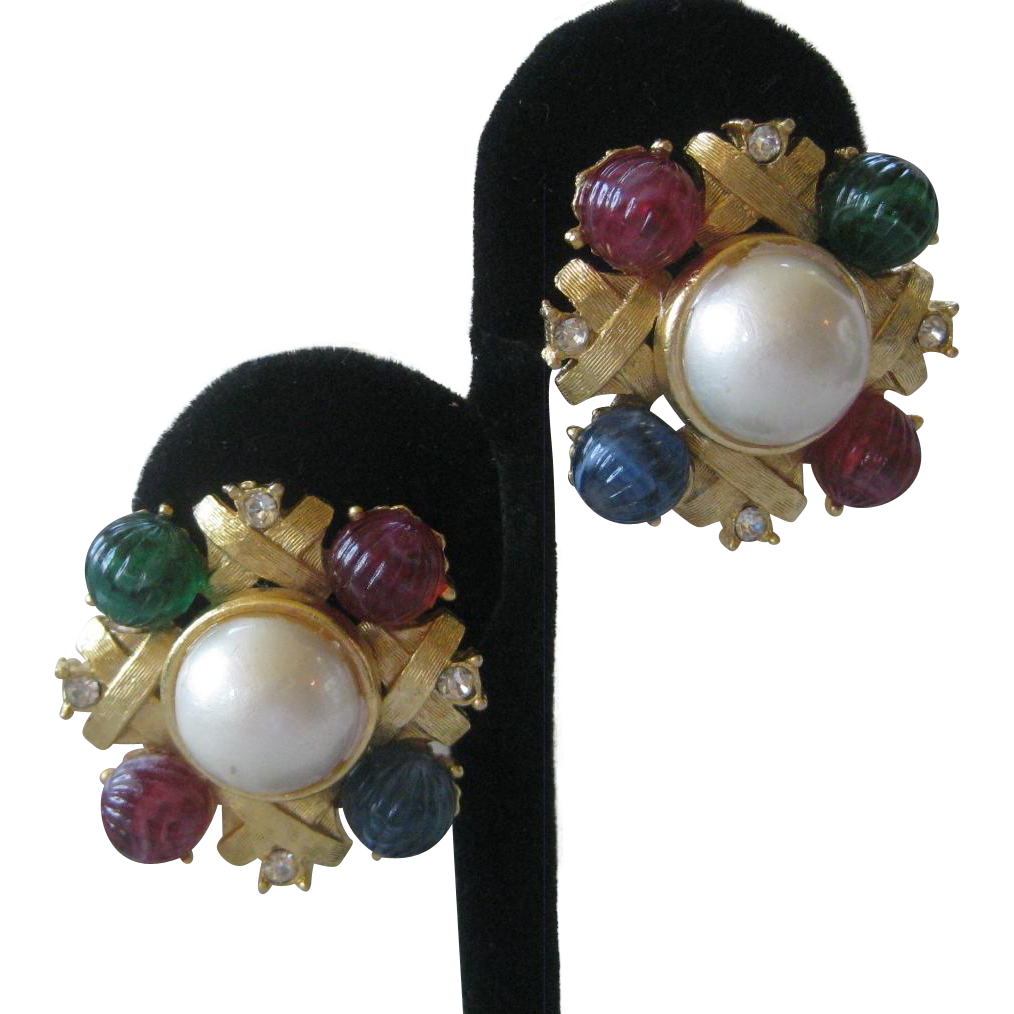 CRAFT Molded Glass Rhinestones & Pearl Vintage Earrings