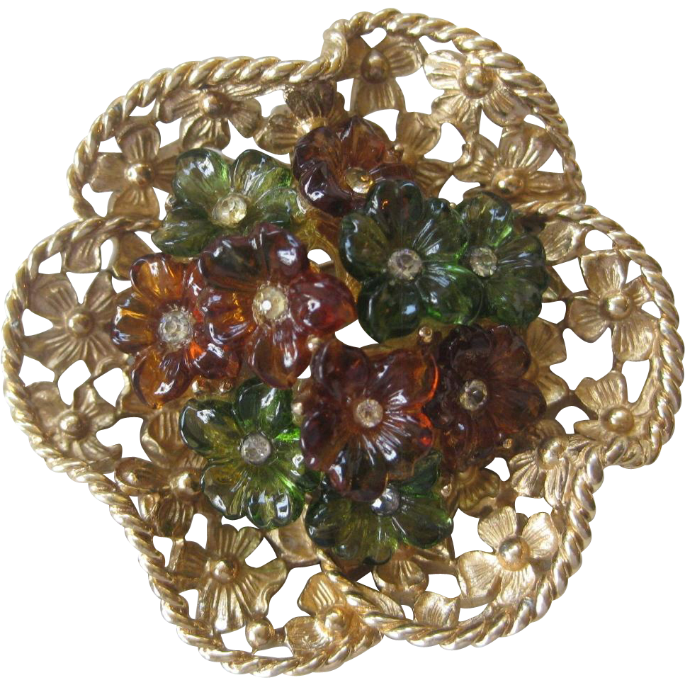 BOUCHER Vintage Molded Glass Flowers & Rhinestones Pin Brooch