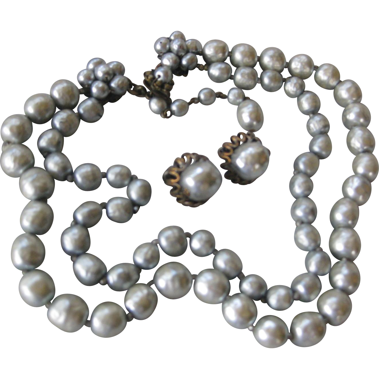MIRIAM HASKELL Light Platinum Baroque Style Glass Pearls Necklace & Earrings Demi Parure
