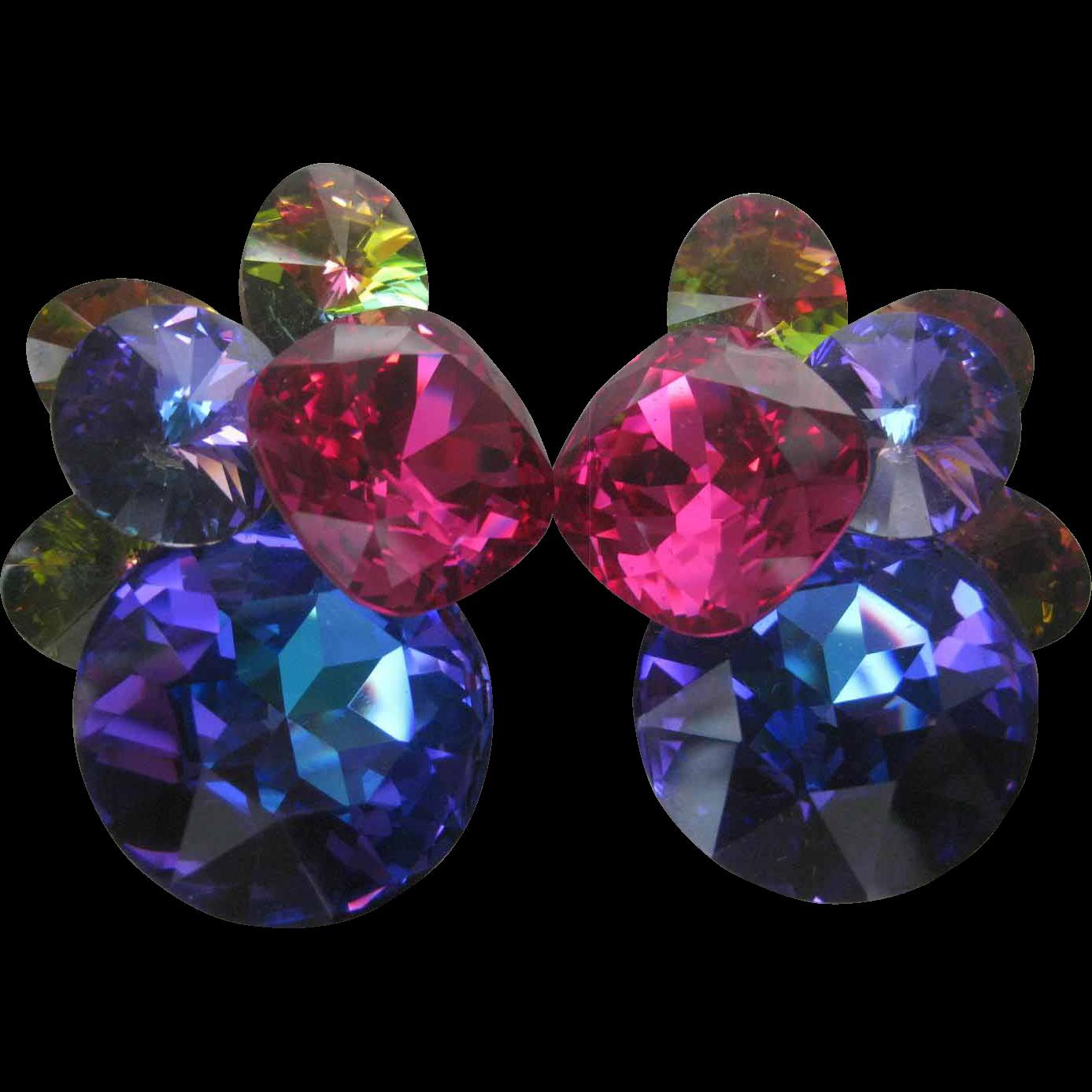 Stunning Vintage Glass Stones Cluster Earrings