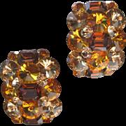 Large Glass Citrine Stones Cluster Vintage Earrings