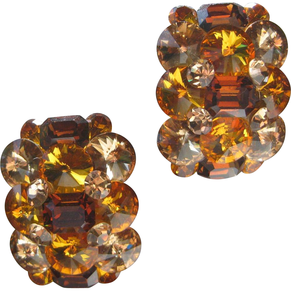 Large Glass Citrine Stones Cluster Vintage Earrings