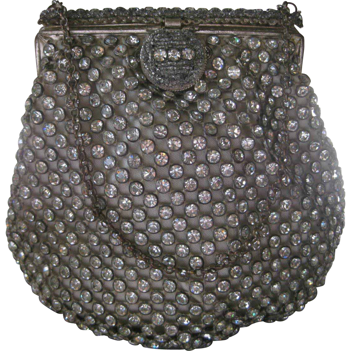 Made In France Bezeled Paste Rhinestones Over Satin Vintage Purse