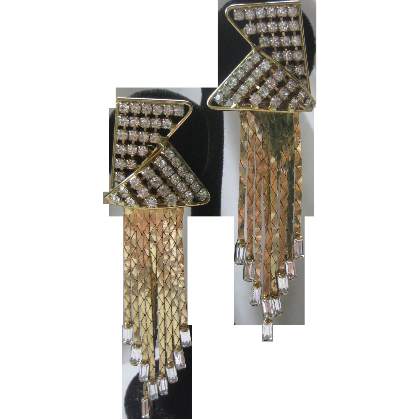 Vintage Dangling Baguettes & Rhinestones Earrings