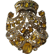 EISENBERG Gorgeous Citrine Glass Stones & Rhinestones Early Fur Clip
