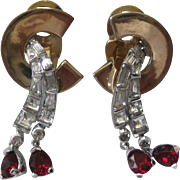 Mazer Dangling Red & Clear Stones Vintage Earrings