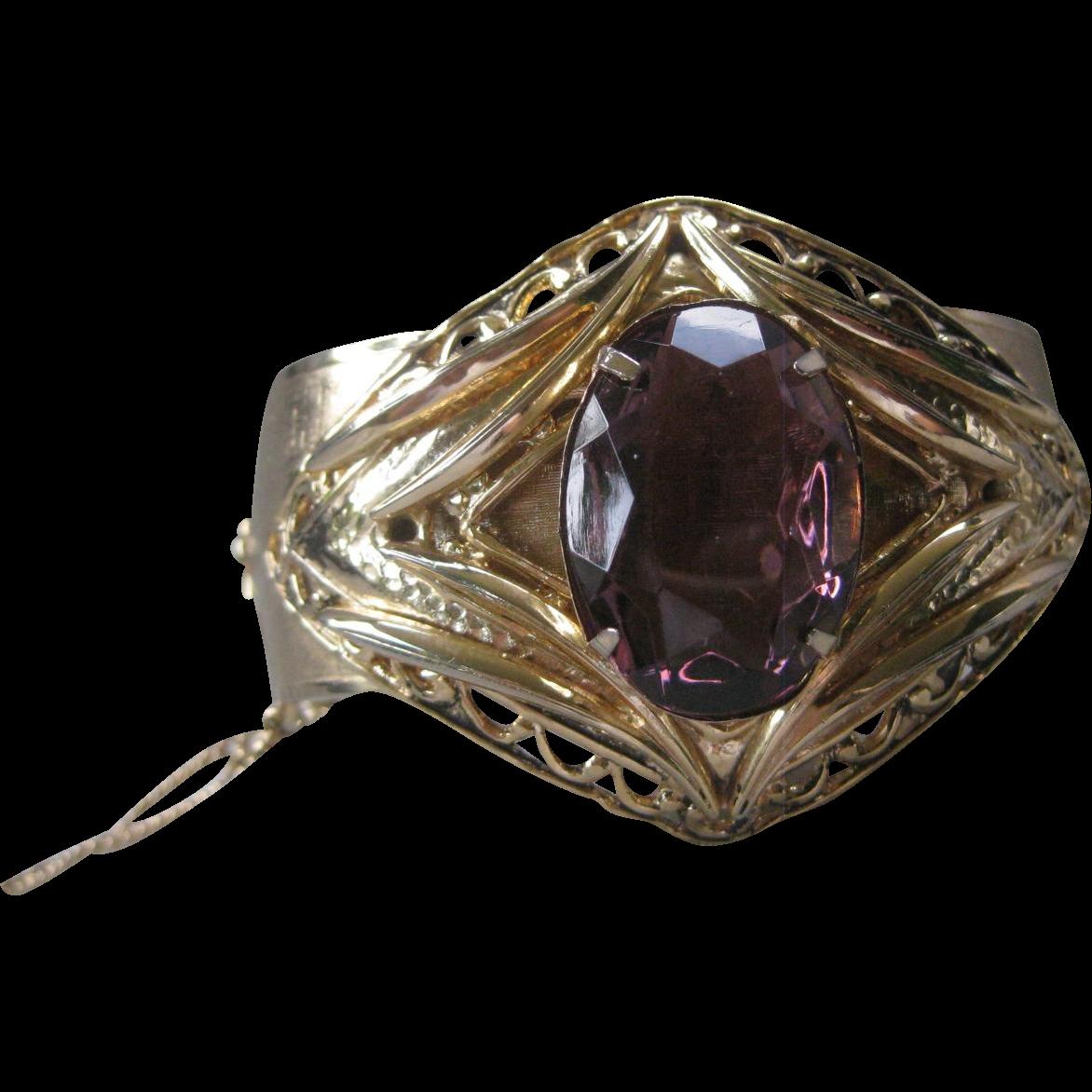 Vintage Purple Glass Stone Large Cuff Bracelet