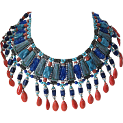 Egyptian Revival Carved Stone & Rhinestones Huge Bib Necklace
