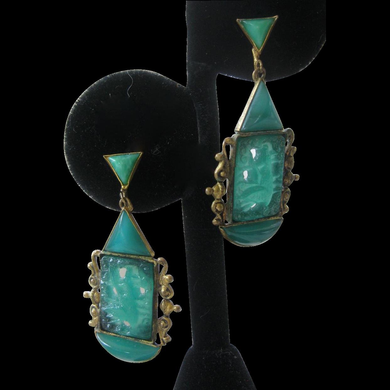 CZECHOSLOVAKIA Vintage Carved Jade Glass Dangling Earrings