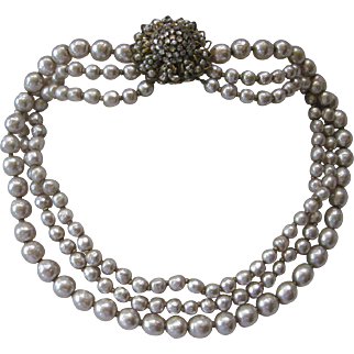 MIRIAM HASKELL 3 Strands Baroque Style Pearls Cluster Catch Necklace