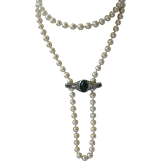 French Paste & Glass Pearls Art Deco Flapper Long Necklace