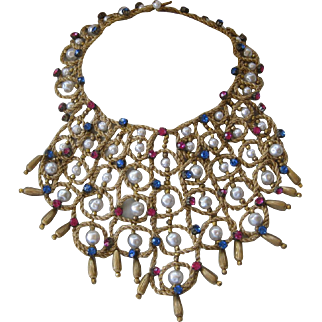 Vintage Couture Woven Rhinestones & Pearls Huge Bib Necklace