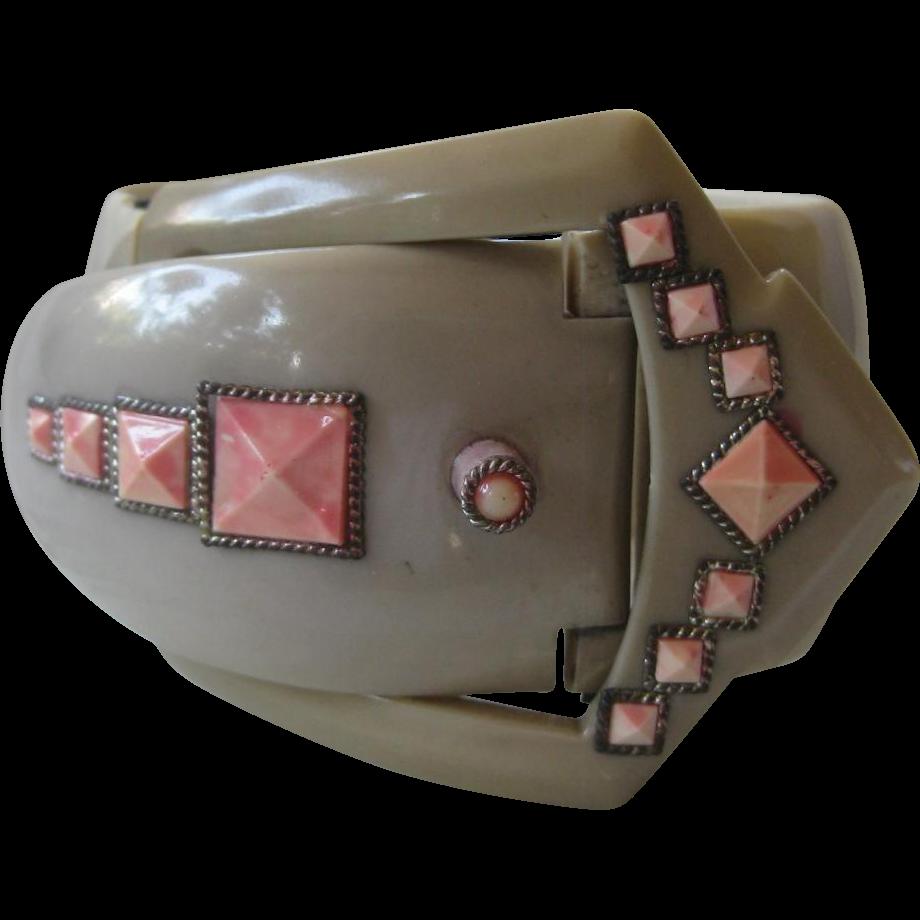 Rare Vintage Ornate Celluloid Buckle Cuff Bracelet