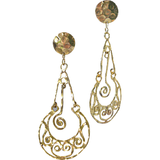 Vintage Goldtone Vintage Filigree Shoulder Duster Earrings