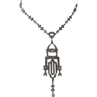 French Paste Art Deco Era Flapper Necklace