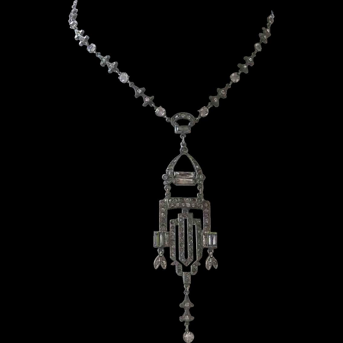 French Paste Art Deco Era Flapper Necklace